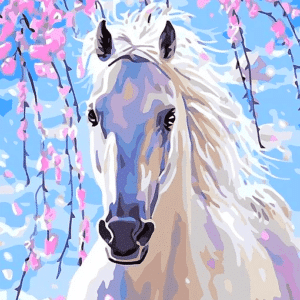 Paint by Numbers Kit White Horse - Just Paint by Number