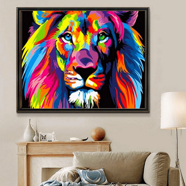 Paint by Numbers Kit Colorful Lion - Just Paint by Number
