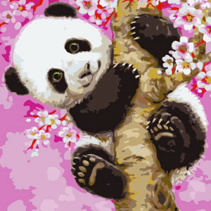 Paint By Number Kit Kids Cherry Panda - Just Paint by Number