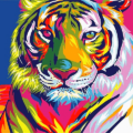 Colorful Abstract Tiger Paint By Number Kit - Just Paint by Number