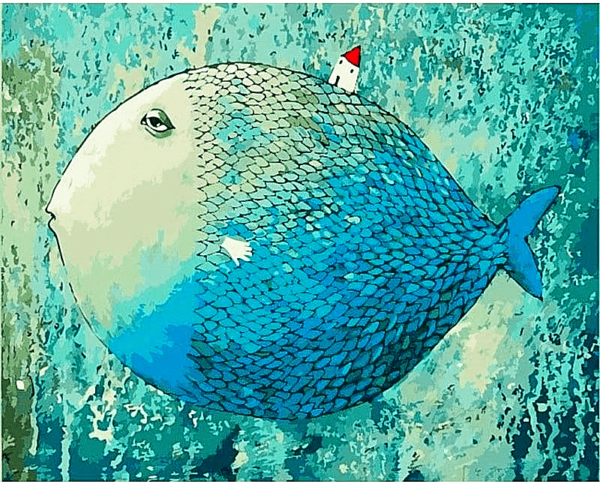 Paint by Number Kit Abstract Blue Fish - Just Paint by Number