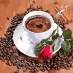 Paint by Numbers Kit Coffee & Rose - Just Paint by Number