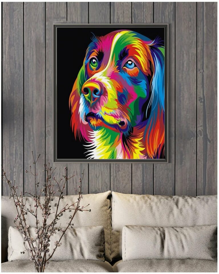 Paint by Numbers Kit Abstract Dog - Just Paint by Number