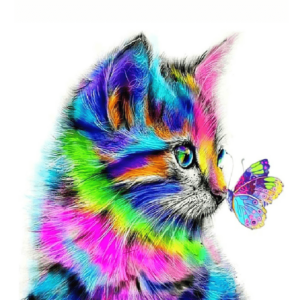 Paint By Numbers Kit Cat Butterfly - Just Paint by Number